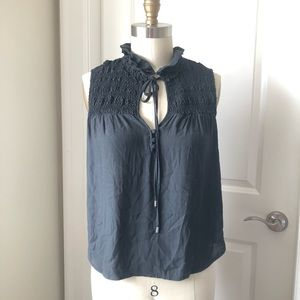 Free People Ruched Neck Tie Grey Sleeveless Top